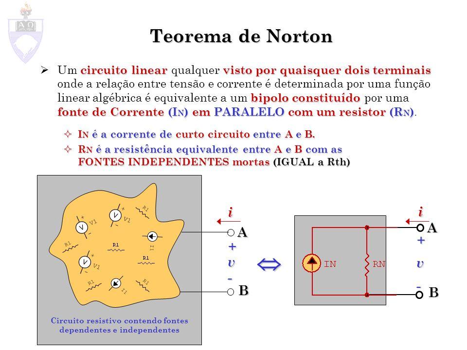 Teorema de Norton circuito linearvisto por quaisquer dois terminais bipolo constituído fonte de Corrente (I N ) em PARALELOcom um resistor (R N ) Um c