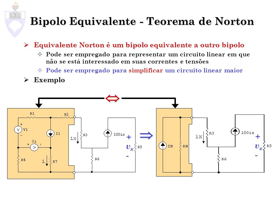 Bipolo Equivalente - Teorema de Norton Equivalente Norton é um bipolo equivalente a outro bipolo Equivalente Norton é um bipolo equivalente a outro bi