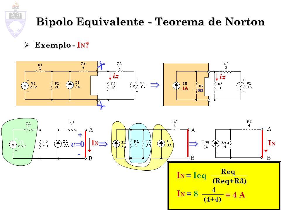 Bipolo Equivalente - Teorema de Norton Exemplo - I N ? Exemplo - I N ? A B + v =0 - ININININ A B Req 20V iz iz A B ININININ I N = Ieq (Req+R3) 4 I N =