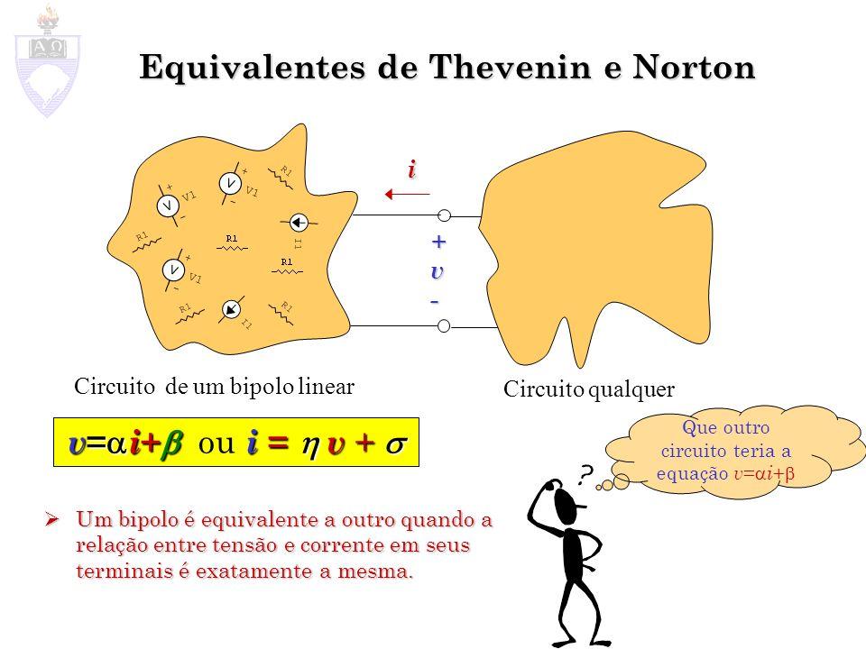 Equivalentes de Thevenin e Norton Um bipolo é equivalente a outro quando a relação entre tensão e corrente em seus terminais é exatamente a mesma. Um
