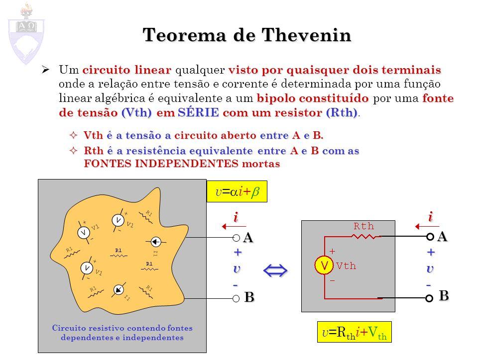 Teorema de Thevenin circuito linearvisto por quaisquer dois terminais bipolo constituídofonte de tensão (Vth) em SÉRIEcom um resistor (Rth) Um circuit