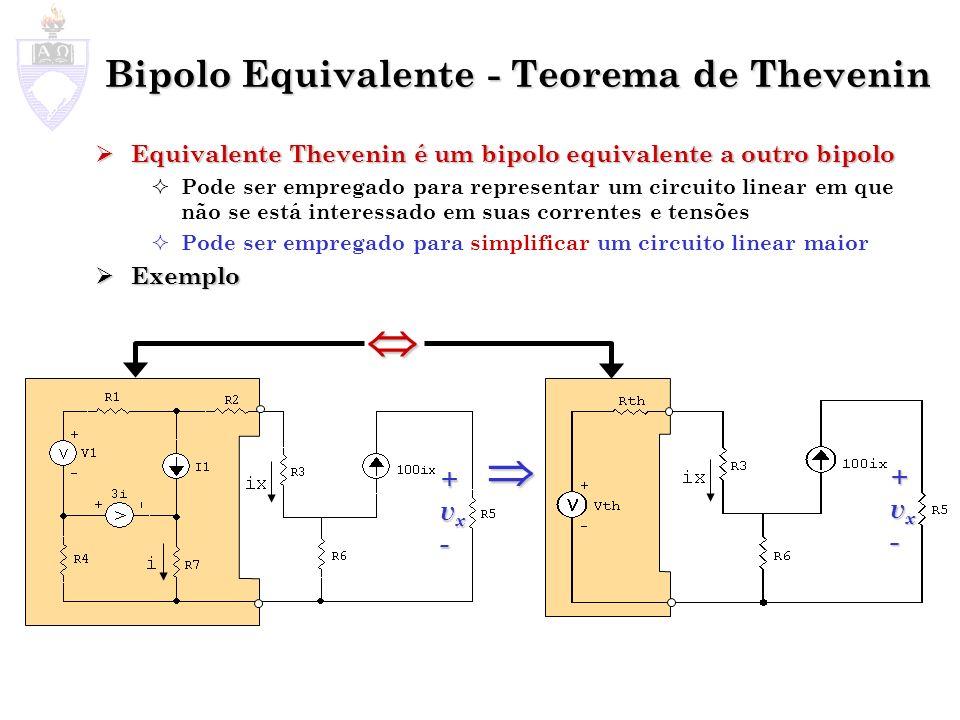 Bipolo Equivalente - Teorema de Thevenin Equivalente Thevenin é um bipolo equivalente a outro bipolo Equivalente Thevenin é um bipolo equivalente a ou