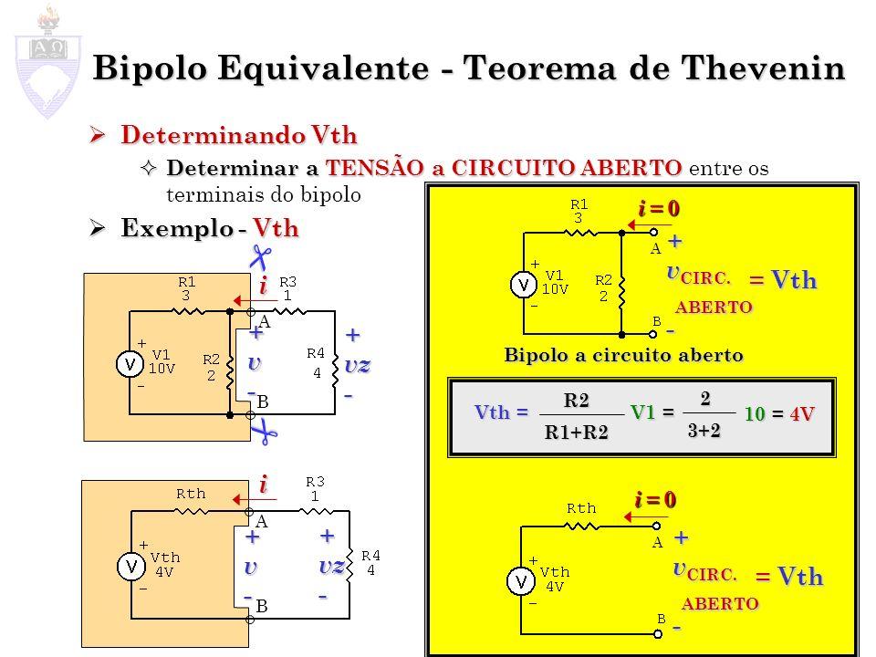 Bipolo Equivalente - Teorema de Thevenin Determinando Vth Determinando Vth Determinar a TENSÃOaCIRCUITO ABERTO Determinar a TENSÃO a CIRCUITO ABERTO e