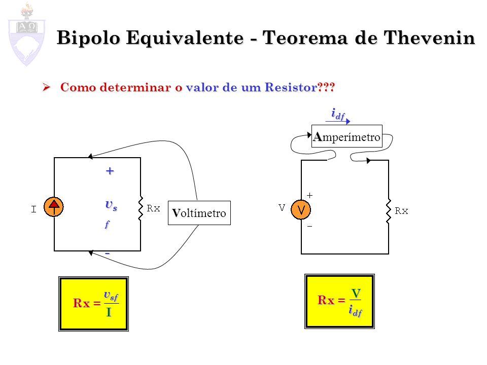 Como determinar o valor de um Resistor??? Como determinar o valor de um Resistor??? Bipolo Equivalente - Teorema de Thevenin + ++vsfvsf--++vsfvsf--- V