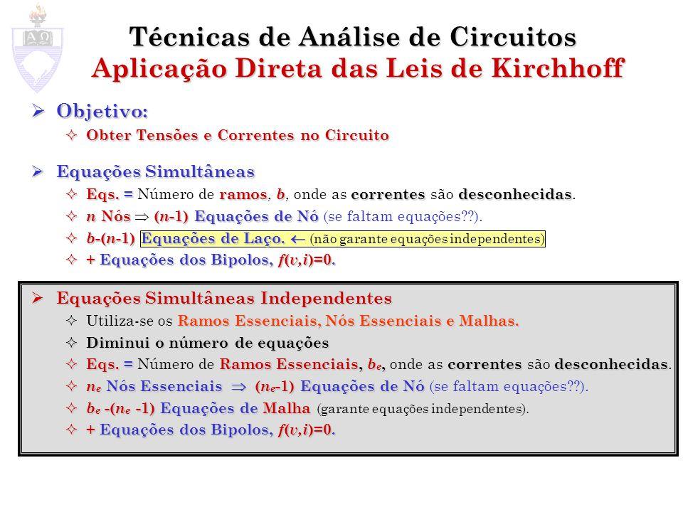 Objetivo: Objetivo: Obter Tensões e Correntes no Circuito Obter Tensões e Correntes no Circuito Equações Simultâneas Equações Simultâneas Eqs.=ramos b