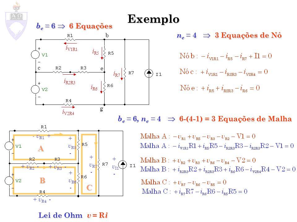 A B C Exemplo b c e g n e = 4 3 Equações de Nó b e = 6, n e = 4 6-(4-1) = 3 Equações de Malha b e = 6 6 Equações Lei de Ohm v = R i i V1R1 i R2R3 i V2