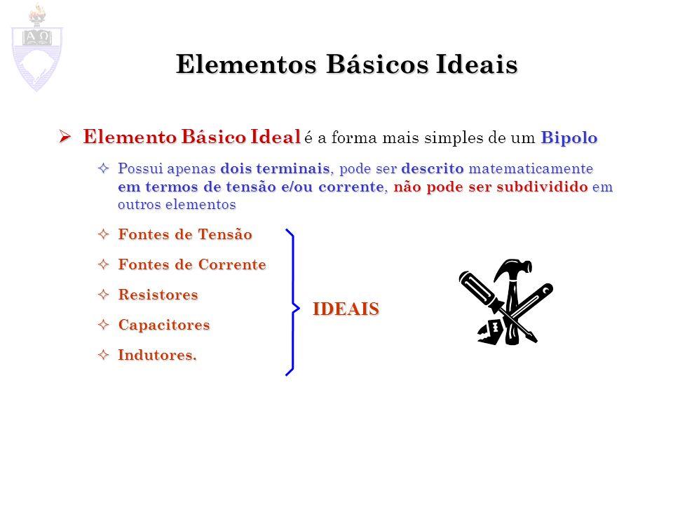 Elementos Básicos Ideais Elemento Básico Ideal Bipolo Elemento Básico Ideal é a forma mais simples de um Bipolo Possui apenas dois terminais, pode ser descrito matematicamente em termos de tensão e/ou corrente, não pode ser subdividido em outros elementos Possui apenas dois terminais, pode ser descrito matematicamente em termos de tensão e/ou corrente, não pode ser subdividido em outros elementos Fontes de Tensão Fontes de Tensão Fontes de Corrente Fontes de Corrente Resistores Resistores Capacitores Capacitores Indutores.