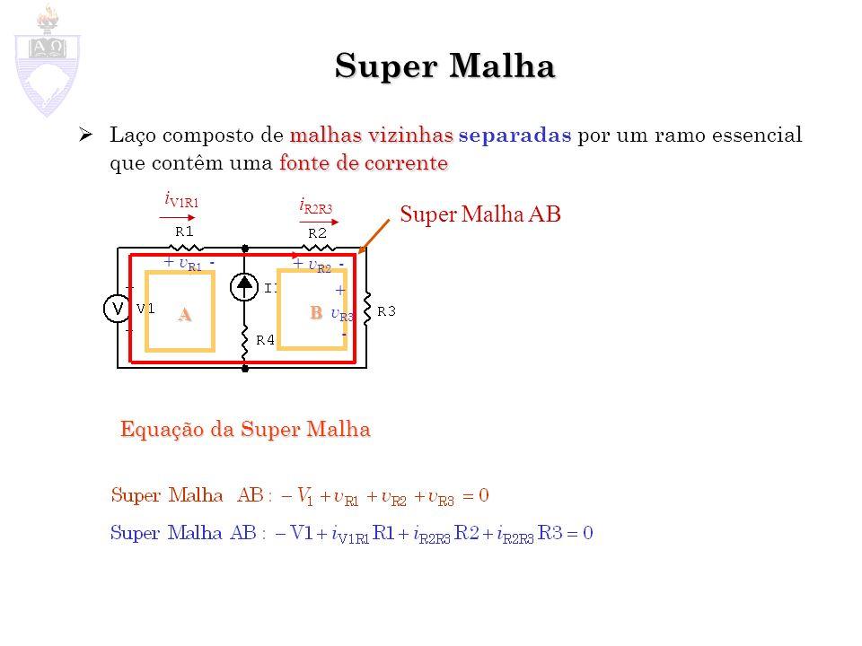 B Super Malha malhas vizinhas fonte de corrente Laço composto de malhas vizinhas separadas por um ramo essencial que contêm uma fonte de corrente A Super Malha AB + v R1 - + v R2 - + v R3 - Equação da Super Malha i V1R1 i R2R3