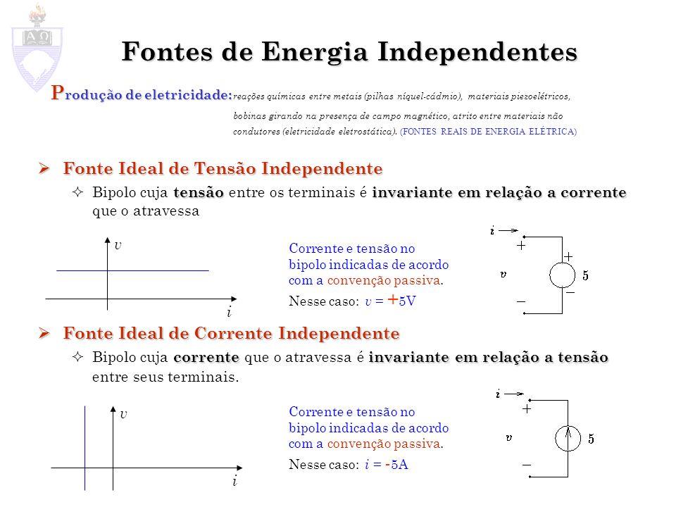Fontes de Energia Independentes P rodução de eletricidade: P rodução de eletricidade: reações químicas entre metais (pilhas níquel-cádmio), materiais