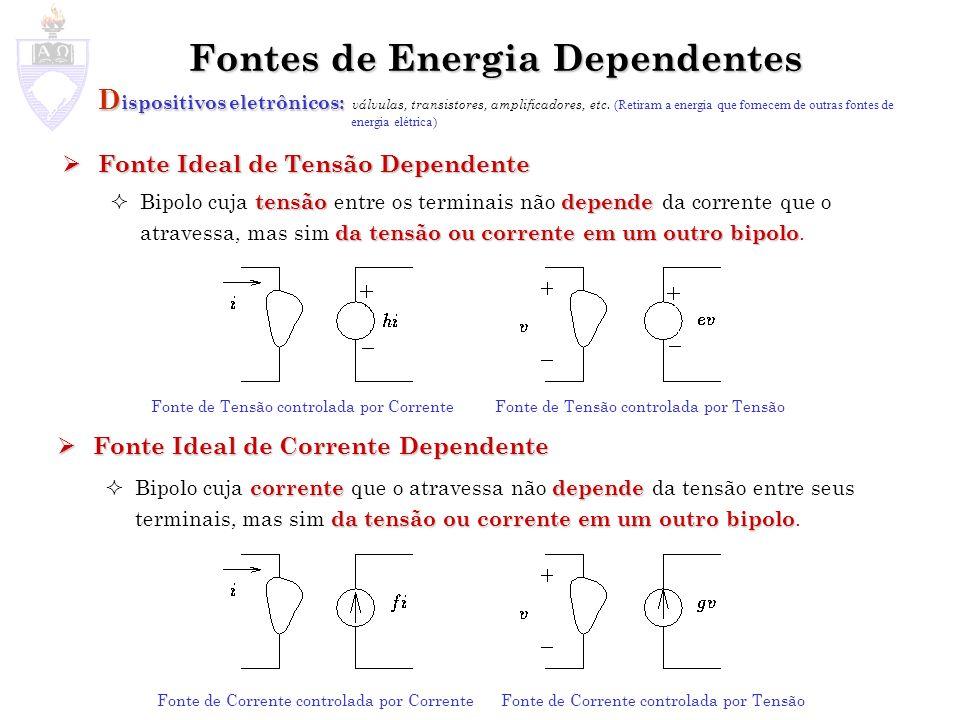 Fontes de Energia Dependentes D ispositivos eletrônicos: D ispositivos eletrônicos: válvulas, transistores, amplificadores, etc.