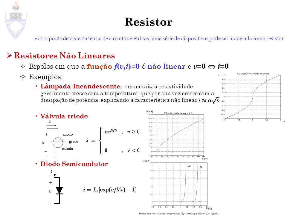 Resistor Sob o ponto de vista da teoria de circuitos elétricos, uma série de dispositivos pode ser modelada como resistor. Resistores Não Lineares Res
