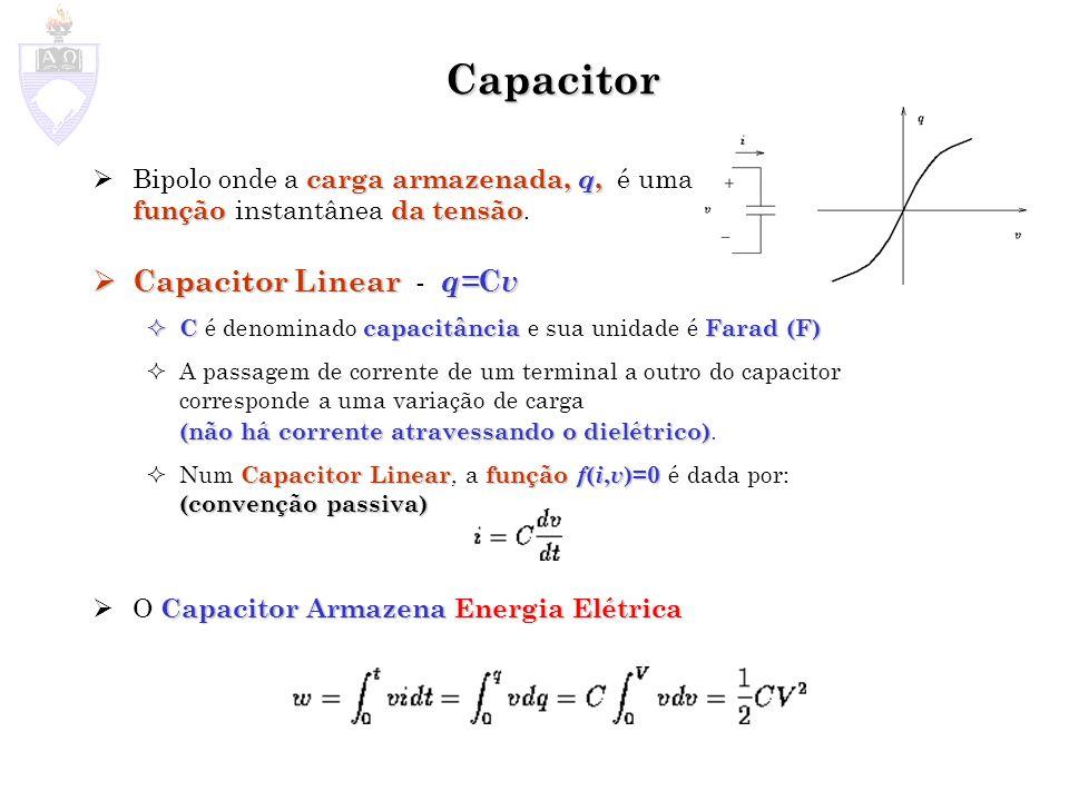 Capacitor carga armazenada, q, funçãoda tensão Bipolo onde a carga armazenada, q, é uma função instantânea da tensão. Capacitor Linear q= C v Capacito