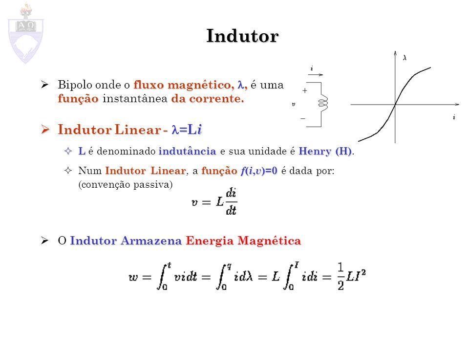 Indutor fluxo magnético,, funçãoda corrente. Bipolo onde o fluxo magnético,, é uma função instantânea da corrente. Indutor Linear - =L i Indutor Linea
