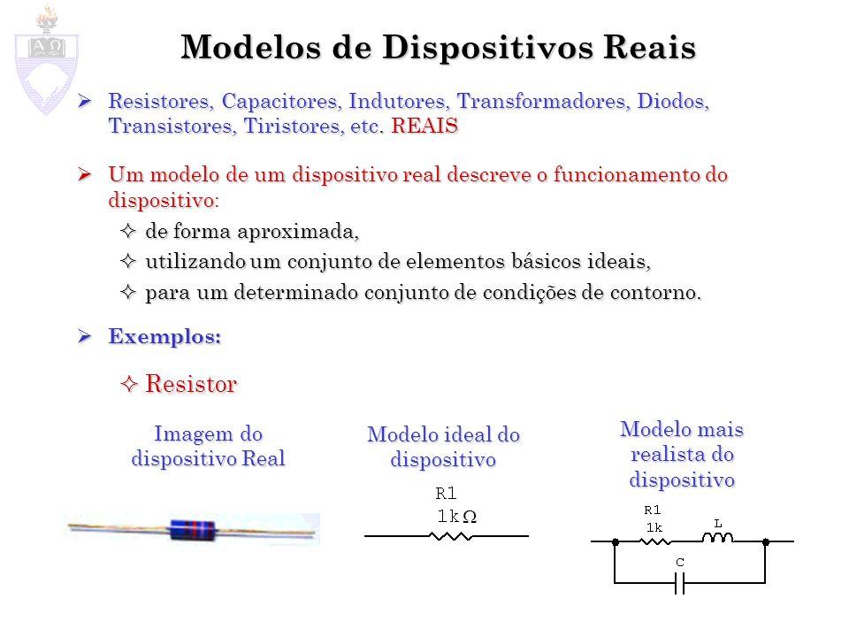 Modelos de Dispositivos Reais Capacitor Capacitor Indutor Indutor Imagem do dispositivo Real Modelo Ideal do dispositivo Modelo mais realista do dispositivo Imagem do dispositivo Real Modelo Ideal do dispositivo Modelo mais realista do dispositivo
