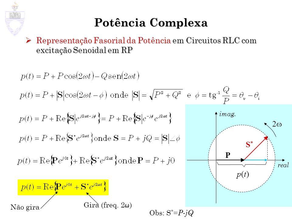 Potência Complexa Representação Fasorial da Potência em Circuitos RLC com excitação Senoidal em RP Representação Fasorial da Potência em Circuitos RLC