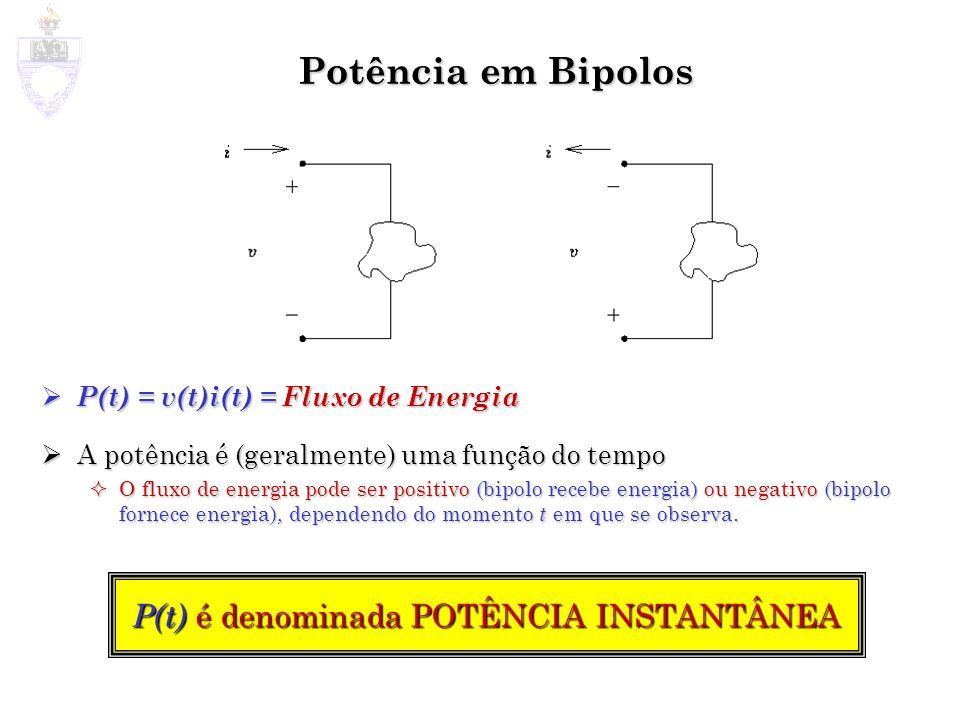 Potência em Bipolos P(t) = v(t)i(t) = Fluxo de Energia P(t) = v(t)i(t) = Fluxo de Energia A potência é (geralmente) uma função do tempo A potência é (