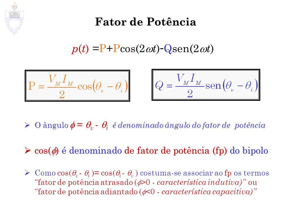 Fator de Potência O ângulo = v - i é denominado ângulo do fator de potência O ângulo = v - i é denominado ângulo do fator de potência cos( ) é denomin