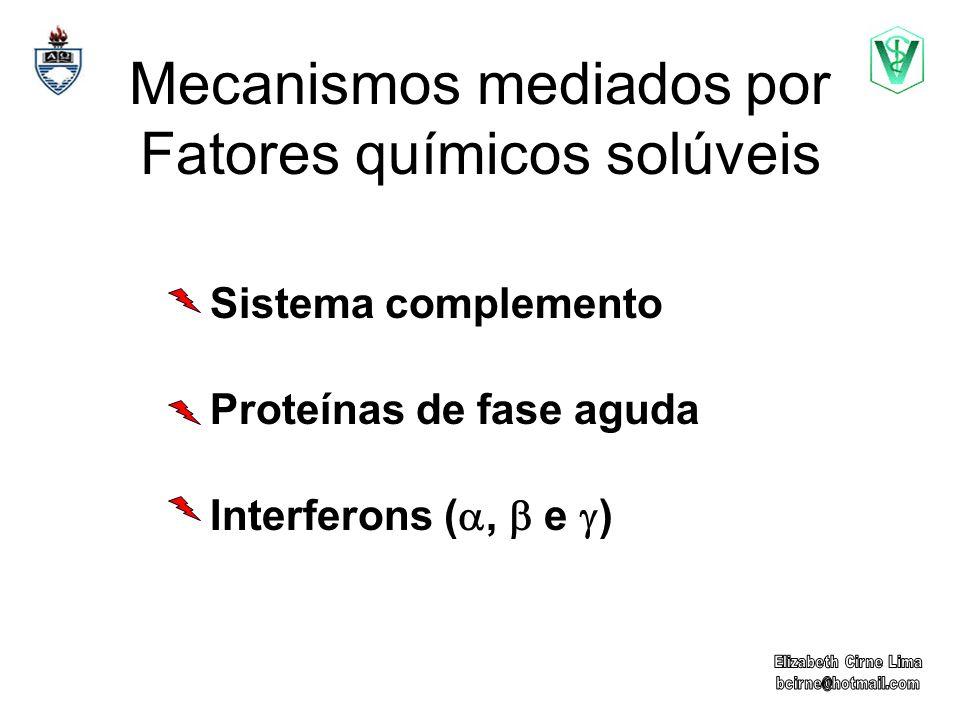 Mecanismos mediados por Fatores químicos solúveis Sistema complemento Proteínas de fase aguda Interferons (, e )