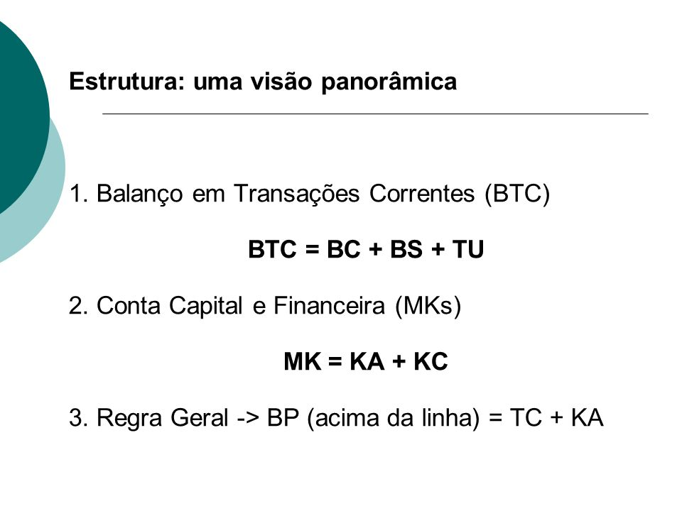 Estrutura: uma visão panorâmica 1. Balanço em Transações Correntes (BTC) BTC = BC + BS + TU 2. Conta Capital e Financeira (MKs) MK = KA + KC 3. Regra