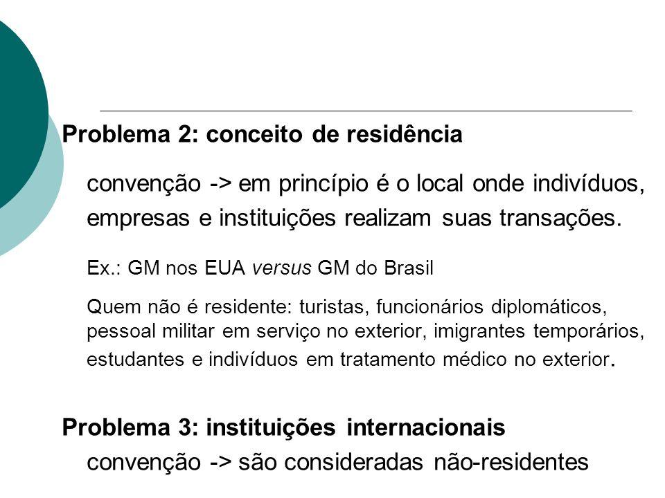 Problema 2: conceito de residência convenção -> em princípio é o local onde indivíduos, empresas e instituições realizam suas transações. Ex.: GM nos