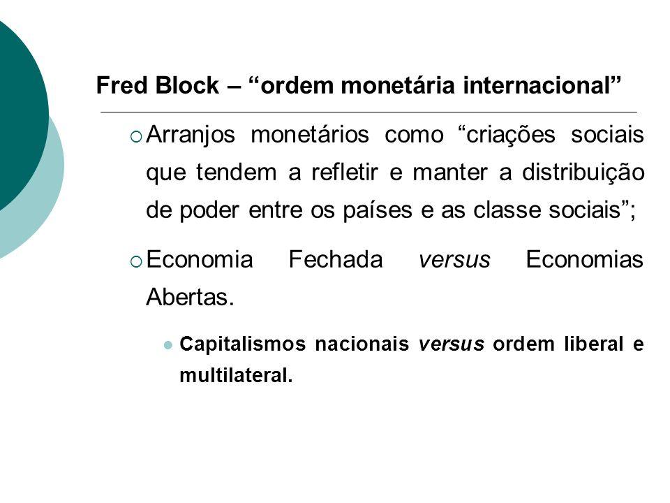 Fred Block – ordem monetária internacional Arranjos monetários como criações sociais que tendem a refletir e manter a distribuição de poder entre os p