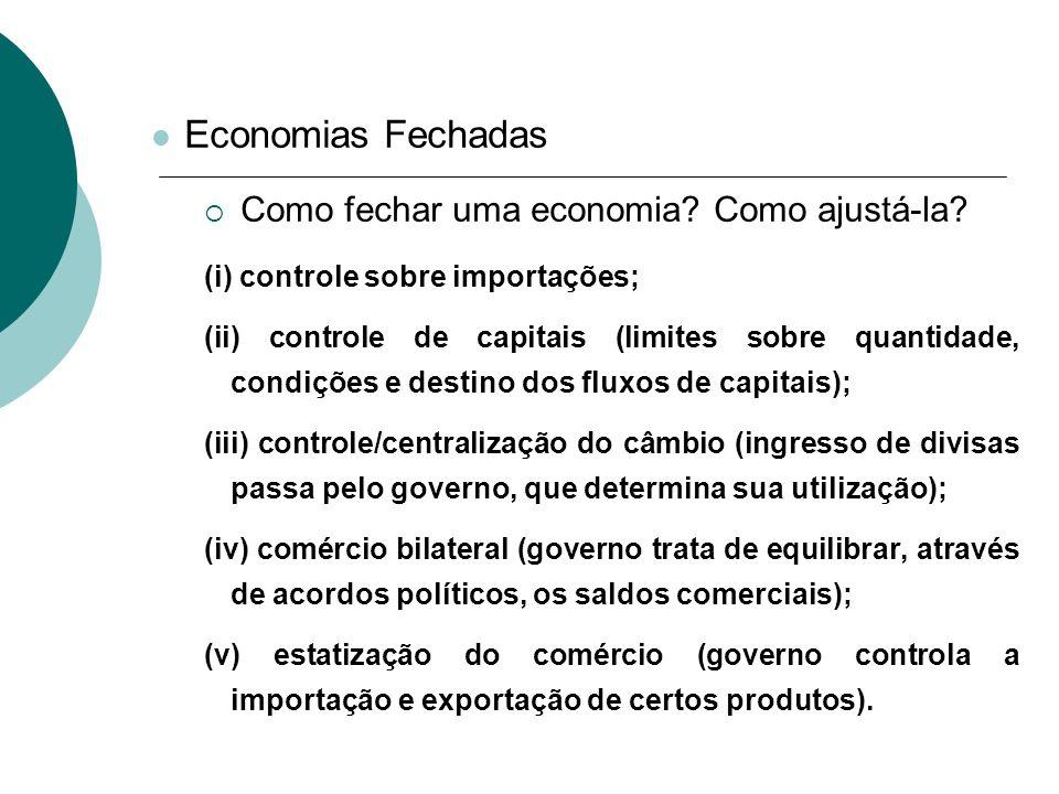 Economias Fechadas Como fechar uma economia? Como ajustá-la? (i) controle sobre importações; (ii) controle de capitais (limites sobre quantidade, cond
