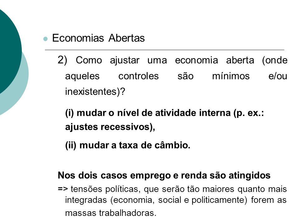 Economias Abertas 2) Como ajustar uma economia aberta (onde aqueles controles são mínimos e/ou inexistentes)? (i) mudar o nível de atividade interna (