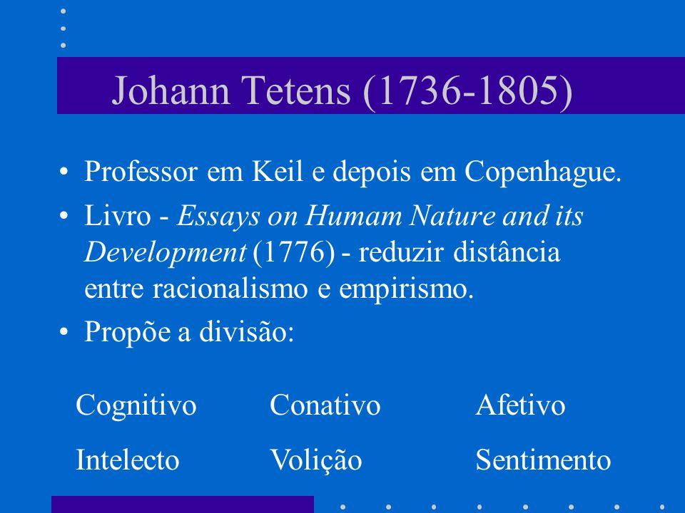 Johann Tetens (1736-1805) Professor em Keil e depois em Copenhague. Livro - Essays on Humam Nature and its Development (1776) - reduzir distância entr