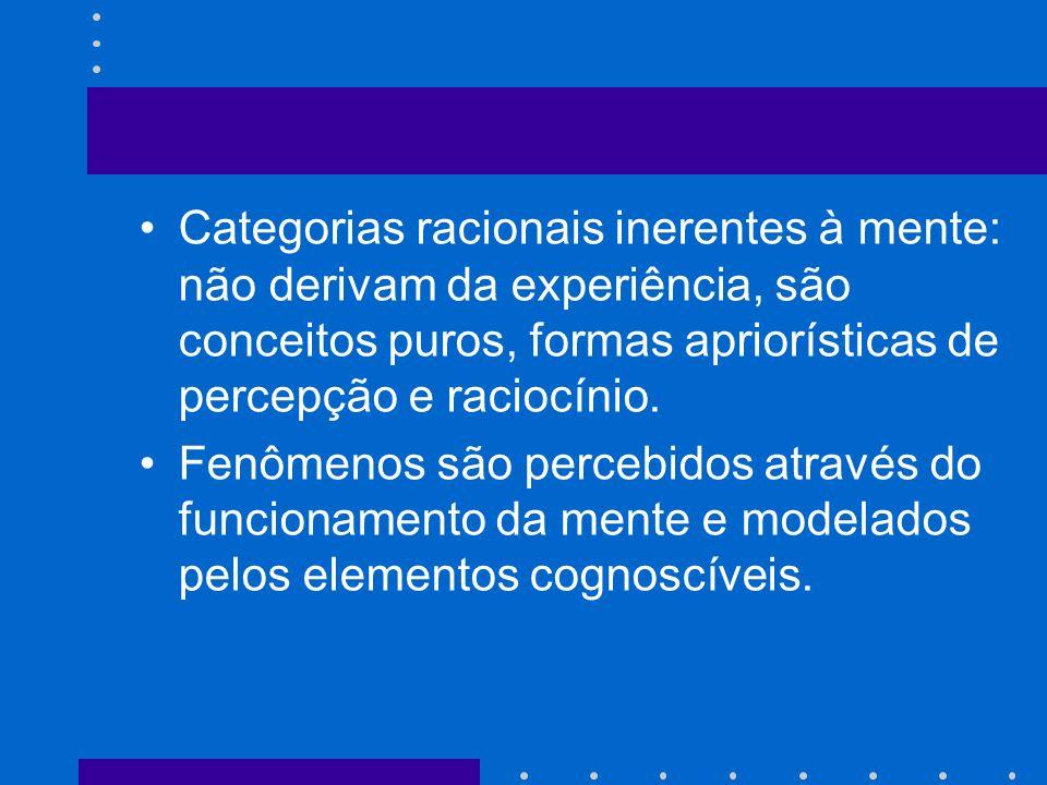 Categorias racionais inerentes à mente: não derivam da experiência, são conceitos puros, formas apriorísticas de percepção e raciocínio. Fenômenos são