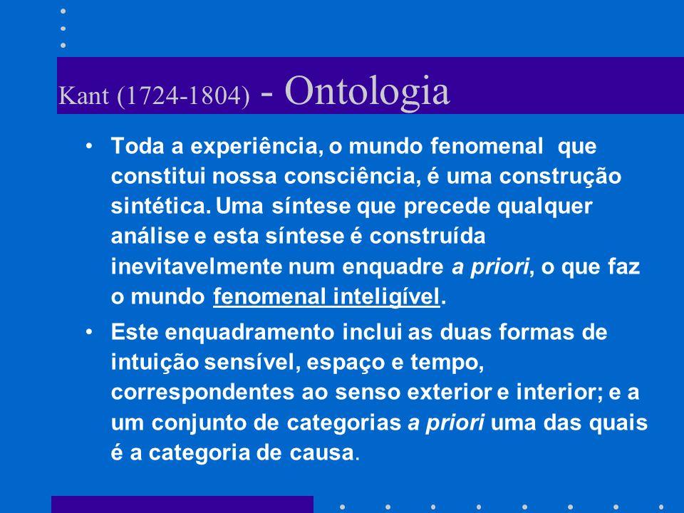 Kant (1724-1804) - Ontologia Toda a experiência, o mundo fenomenal que constitui nossa consciência, é uma construção sintética. Uma síntese que preced