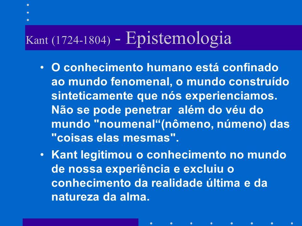 Kant (1724-1804) - Epistemologia O conhecimento humano está confinado ao mundo fenomenal, o mundo construído sinteticamente que nós experienciamos. Nã