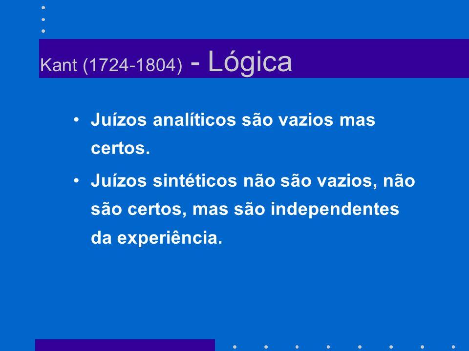 Kant (1724-1804) - Lógica Juízos analíticos são vazios mas certos. Juízos sintéticos não são vazios, não são certos, mas são independentes da experiên