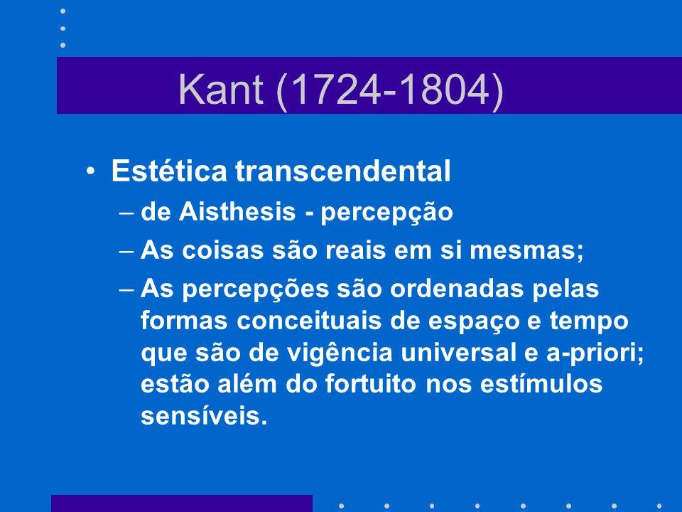 Kant (1724-1804) Estética transcendental –de Aisthesis - percepção –As coisas são reais em si mesmas; –As percepções são ordenadas pelas formas concei