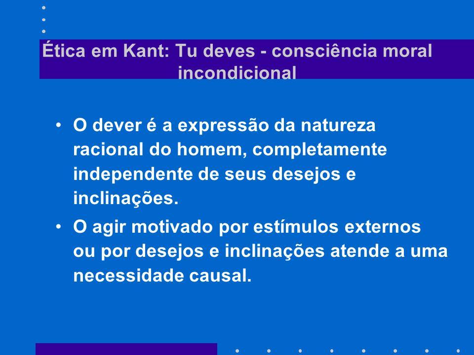 Ética em Kant: Tu deves - consciência moral incondicional O dever é a expressão da natureza racional do homem, completamente independente de seus dese