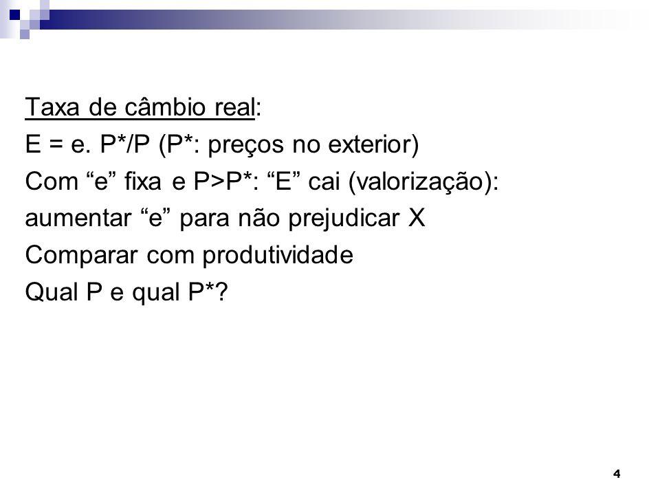 4 Taxa de câmbio real: E = e. P*/P (P*: preços no exterior) Com e fixa e P>P*: E cai (valorização): aumentar e para não prejudicar X Comparar com prod