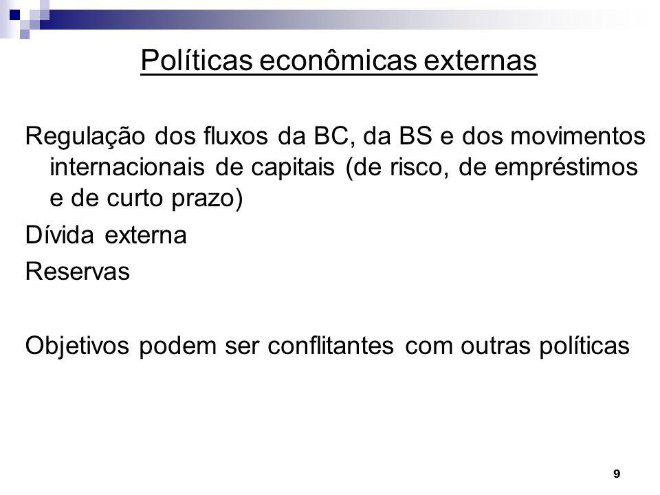 10 Políticas econômicas: 1- Estabilização: a) BP: regulação e equilíbrio no LP b) Preços: M de bens para conter inflação c) Ciclos: Y = C+I+G+(X-M); X-M maior para Y crescer 2- Crescimento: Uso de poupança externa, atração de K de risco, proteção à indústria nascente 3- Repartição: renda e riqueza: não