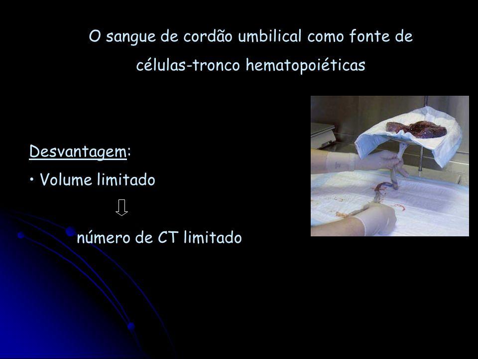 O sangue de cordão umbilical como fonte de células-tronco hematopoiéticas Desvantagem: Volume limitado número de CT limitado