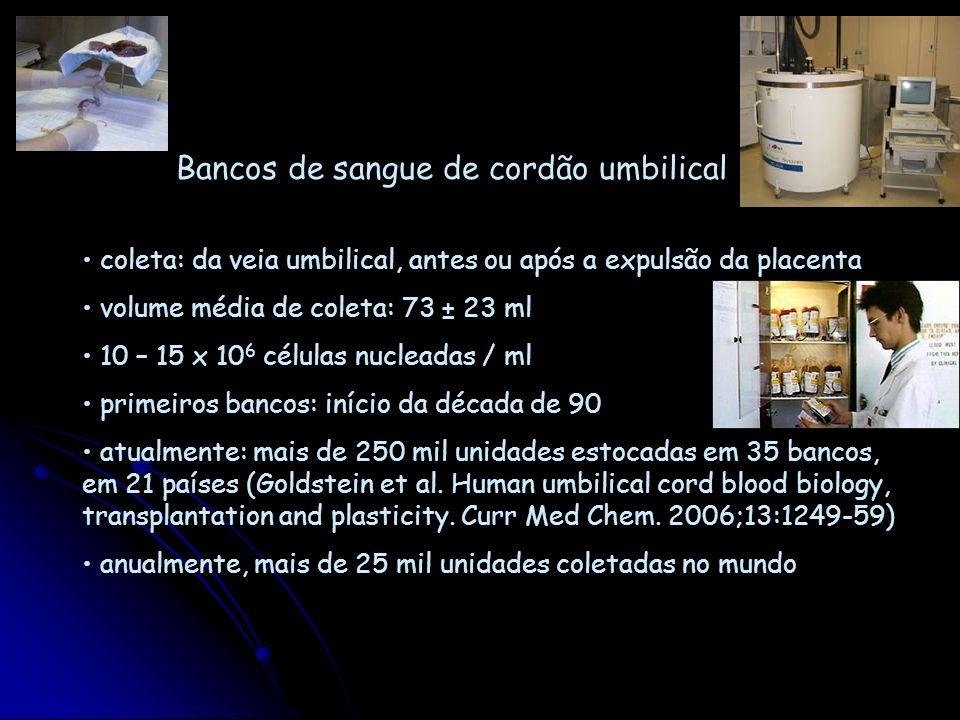 Bancos de sangue de cordão umbilical coleta: da veia umbilical, antes ou após a expulsão da placenta volume média de coleta: 73 ± 23 ml 10 – 15 x 10 6