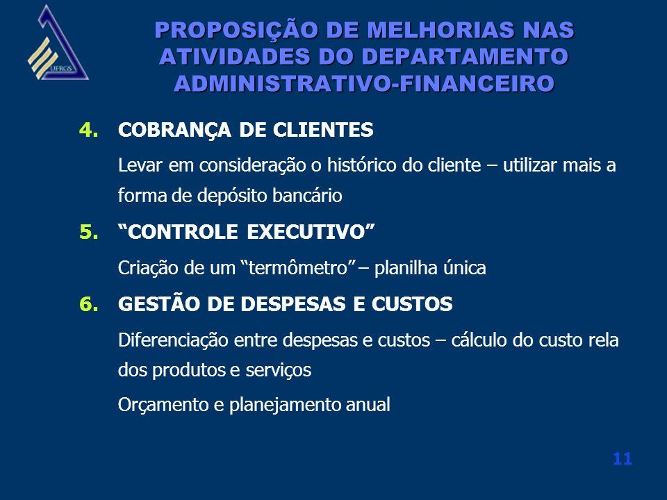 11 4.COBRANÇA DE CLIENTES Levar em consideração o histórico do cliente – utilizar mais a forma de depósito bancário 5.CONTROLE EXECUTIVO Criação de um
