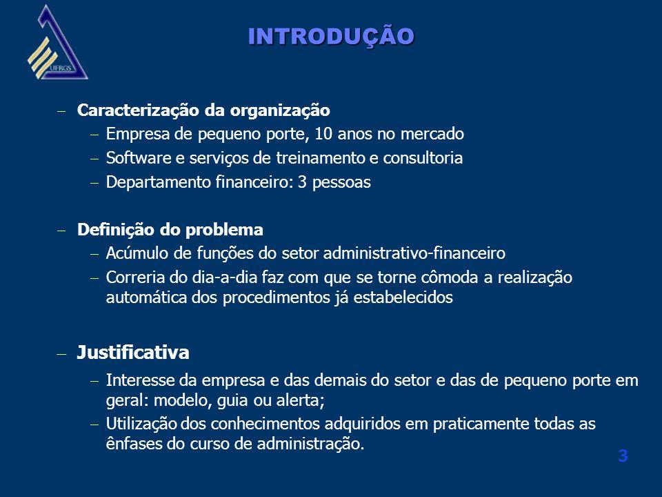 3 INTRODUÇÃO Caracterização da organização Empresa de pequeno porte, 10 anos no mercado Software e serviços de treinamento e consultoria Departamento