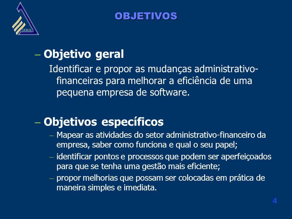 4 OBJETIVOS Objetivo geral Identificar e propor as mudanças administrativo- financeiras para melhorar a eficiência de uma pequena empresa de software.