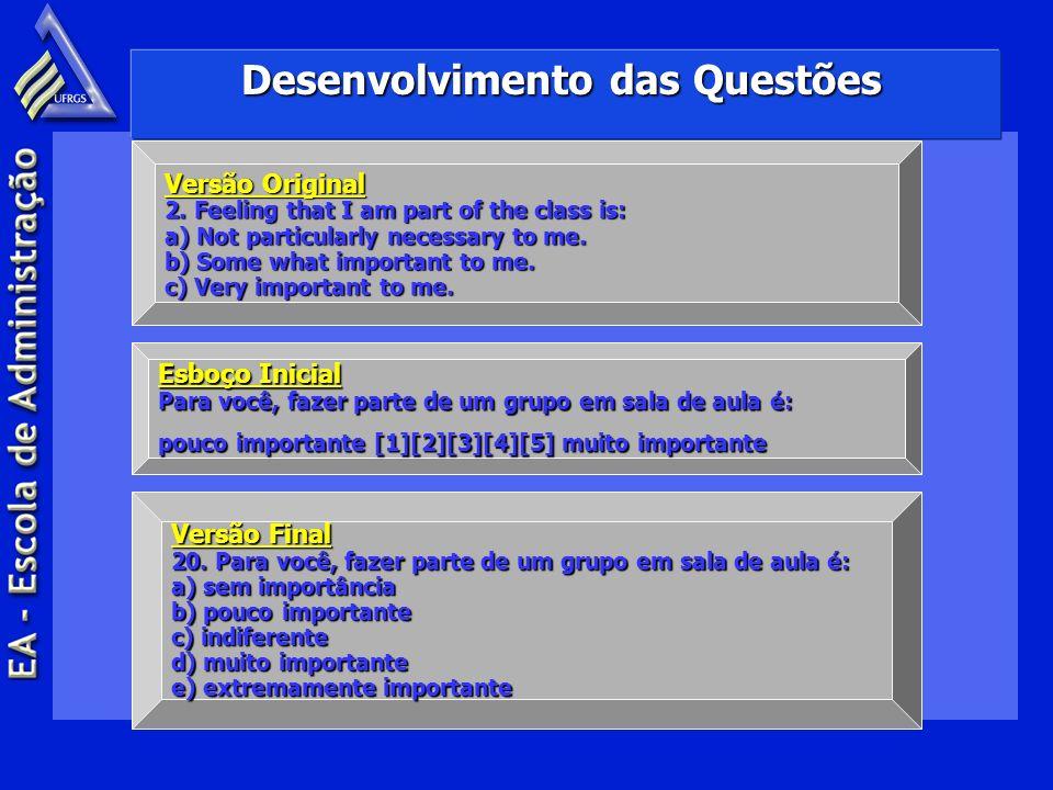 Desenvolvimento das Questões Versão Original 2. Feeling that I am part of the class is: a) Not particularly necessary to me. b) Some what important to