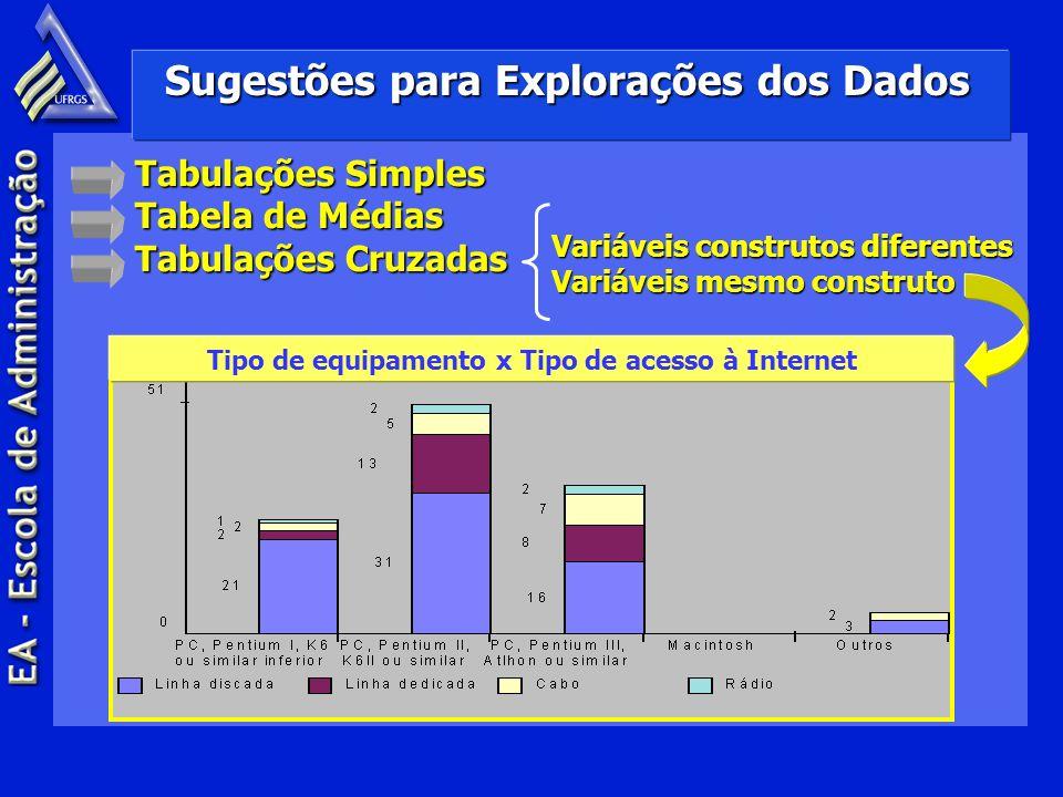 Sugestões para Explorações dos Dados Variáveis construtos diferentes Variáveis mesmo construto Tabulações Simples Tabela de Médias Tabulações Cruzadas