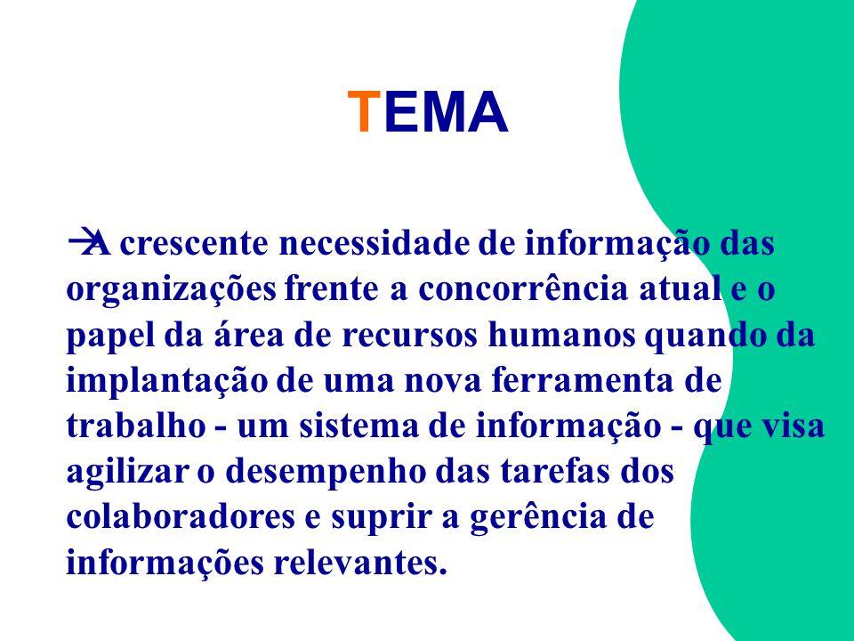 TEMA àA crescente necessidade de informação das organizações frente a concorrência atual e o papel da área de recursos humanos quando da implantação d