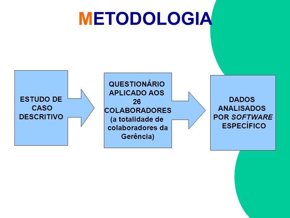 METODOLOGIA ESTUDO DE CASO DESCRITIVO QUESTIONÁRIO APLICADO AOS 26 COLABORADORES (a totalidade de colaboradores da Gerência) DADOS ANALISADOS POR SOFT
