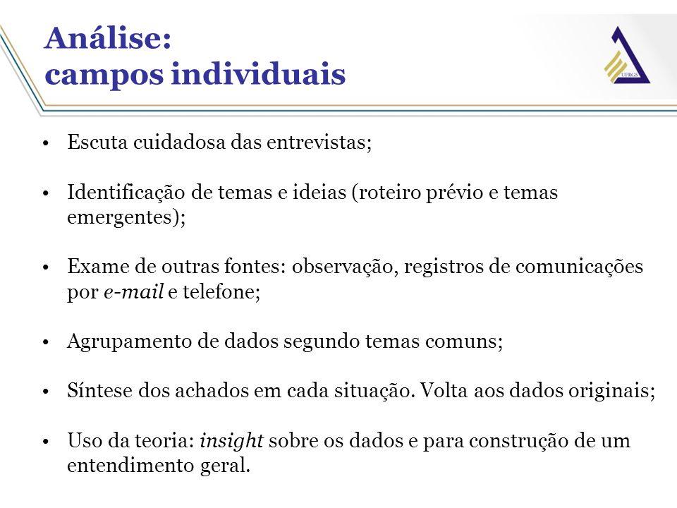 Análise: campos individuais Escuta cuidadosa das entrevistas; Identificação de temas e ideias (roteiro prévio e temas emergentes); Exame de outras fon