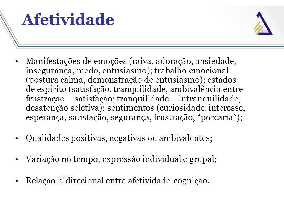 Afetividade Manifestações de emoções (raiva, adoração, ansiedade, insegurança, medo, entusiasmo); trabalho emocional (postura calma, demonstração de e