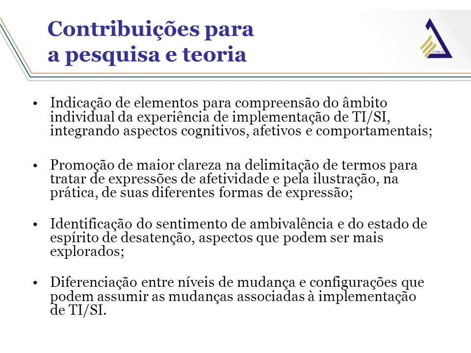 Contribuições para a pesquisa e teoria Indicação de elementos para compreensão do âmbito individual da experiência de implementação de TI/SI, integran