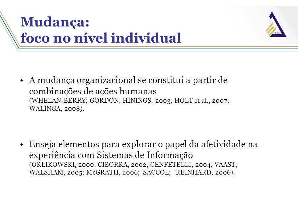 Mudança: foco no nível individual A mudança organizacional se constitui a partir de combinações de ações humanas (WHELAN-BERRY; GORDON; HININGS, 2003;