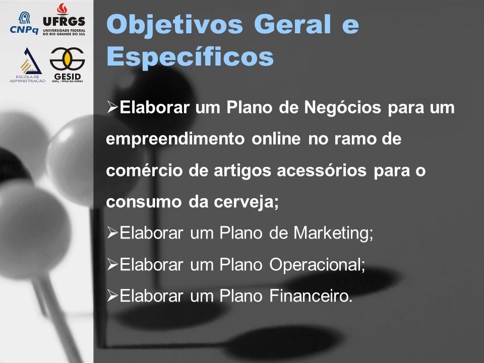 Objetivos Geral e Específicos Elaborar um Plano de Negócios para um empreendimento online no ramo de comércio de artigos acessórios para o consumo da